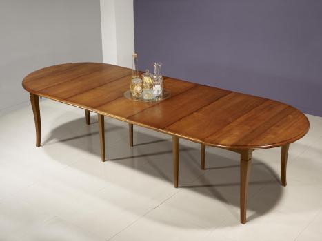 Mesa de comedor redonda ,diámetro 110,fabricada en madera de cerezo macizo al estilo Louis Philippe + 5 extensiones de 40 cm